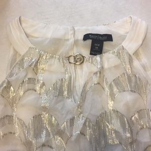 White and Gold Silk Top